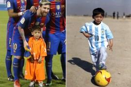مرتضى بقميص النجم الأرجنتيني الموقع منه (يمين) ومع ميسي في الدوحة قبل مباراة برشلونة والأهلي السعودي (مواقع التواصل)