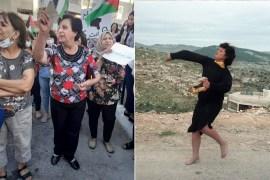 ميشلين عواد قبل 34 عاما عندما نزعت حذاءها وألقت الحجارة على جنود الاحتلال في الانتفاضة الأولى وصورة أخرى لها وهي تشارك في وقفة تضامنية ضد الاعتداء على شعبها الفلسطيني عام 2021 (مواقع التواصل)