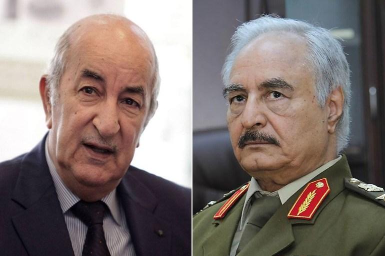 اللواء المتقاعد حفتر (يمين) والرئيس الجزائري تبون (وكالات)