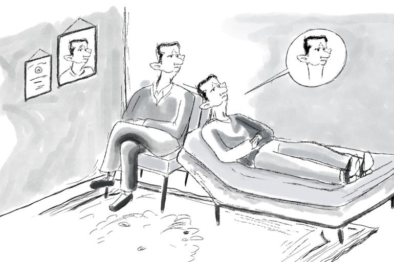 رسم كاريكاتيري لبشار الأسد (رسم: رأفت الخطيب)