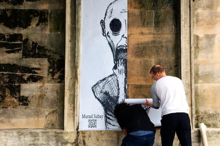 """جدارية """"القهر""""للفنان مراد سبيع تجسد الحرب والموت والقمع في اليمن (مواقع التواصل الاجتماعي)"""