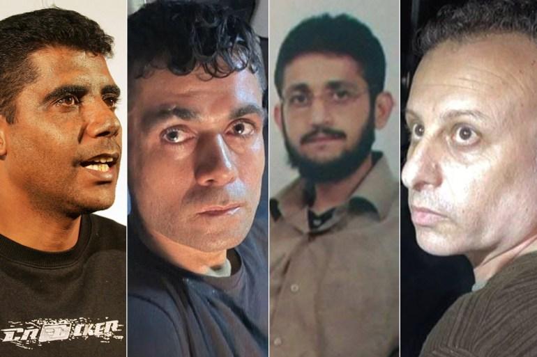 الأسرى الفلسطينيون الأربعة من اليسار: زكريا الزبيدي ومحمود ومحمد العارضة ويعقوب قادري (مواقع التواصل)