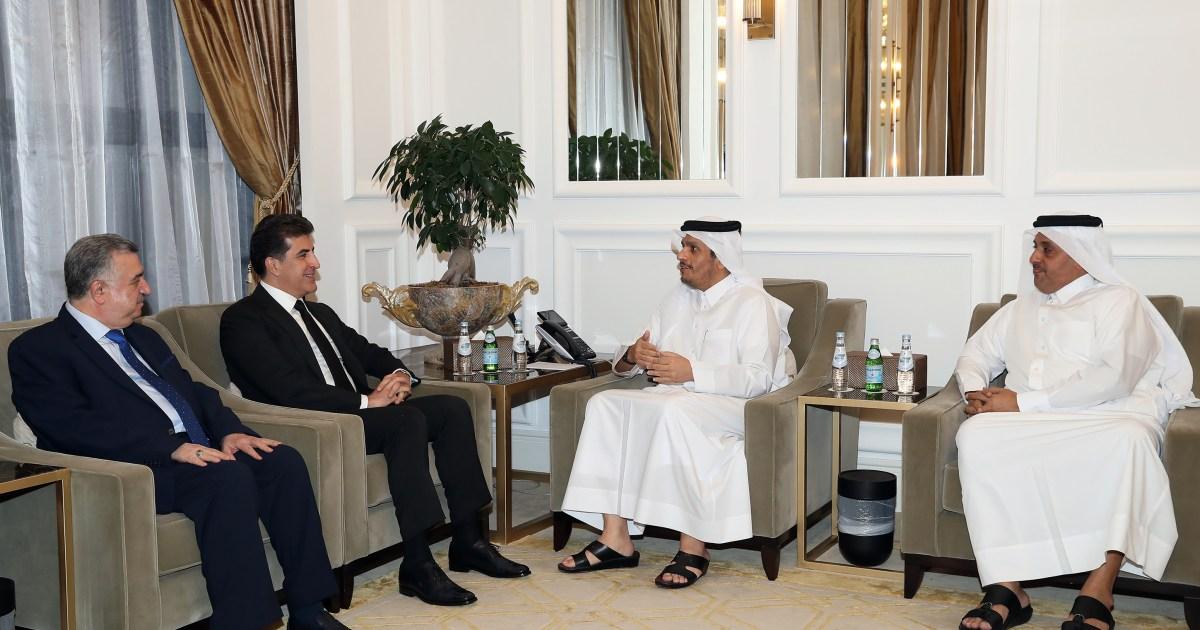 استعرضا التعاون الثنائي.. وزير الخارجية القطري يلتقي رئيس إقليم كردستان العراق بالدوحة